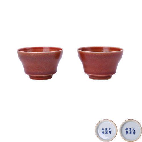 豇豆红釉杯