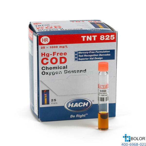 TNT825 COD預制試劑(無汞) 100-1000mg/L 25支 帶條形碼 13mm HACH 哈希試劑