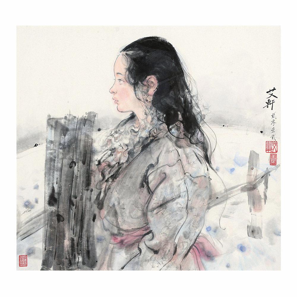 2012年作 藏族少女 镜框 设色纸本.jpg