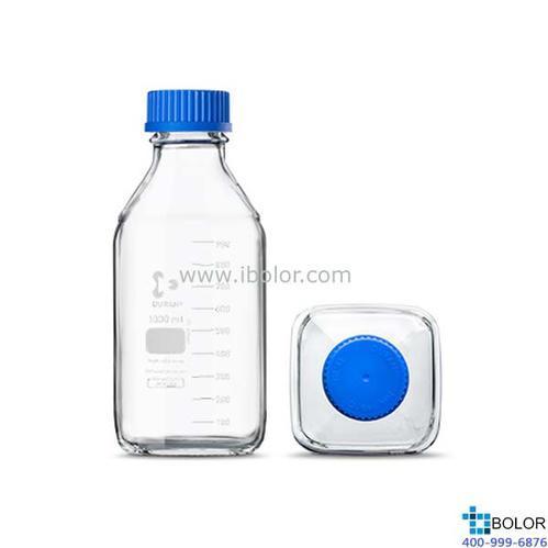 Schott Duran 透明玻璃方形瓶 1000mL,GL45口徑 Schott/肖特;21820545