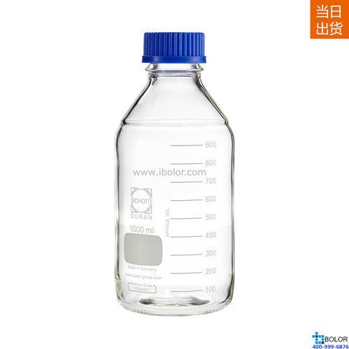 Schott Duran 玻璃藍蓋瓶 1000mL,GL45口徑 Schott/肖特 21801545