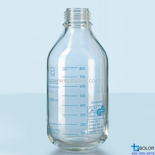 DURAN 透明 250mL 耐壓瓶1 GL 45口徑, DIN螺紋 1092234
