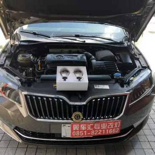 贵阳车灯升级改装新车斯柯达速派原车氙气大灯升级改装米石M2LED双光透镜