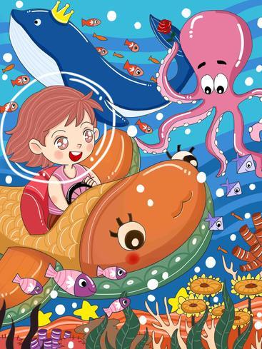 卡通宇航员海洋畅游 Cartoon astronauts swim in the ocean__I0201006QTW