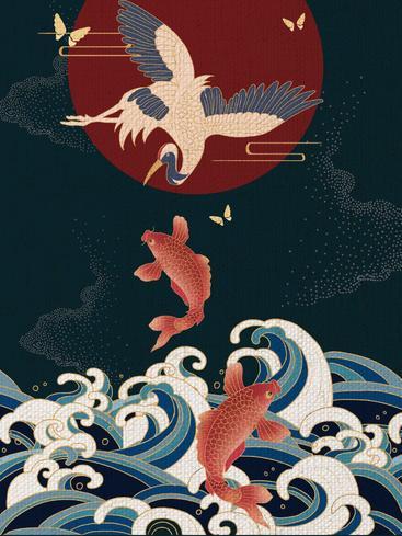 中国风鲤鱼仙鹤 Chinese style carp crane__I0101011QTW