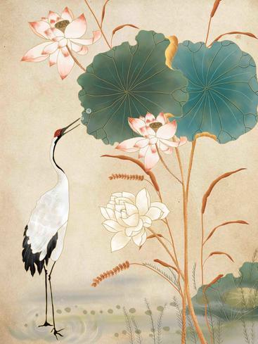中国风仙鹤荷花 Chinese style crane lotus__I0101013QTW