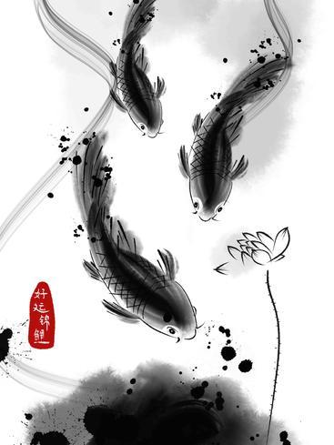 中国画好运锦鲤 Chinese painting good luck koi__I0101019QTW
