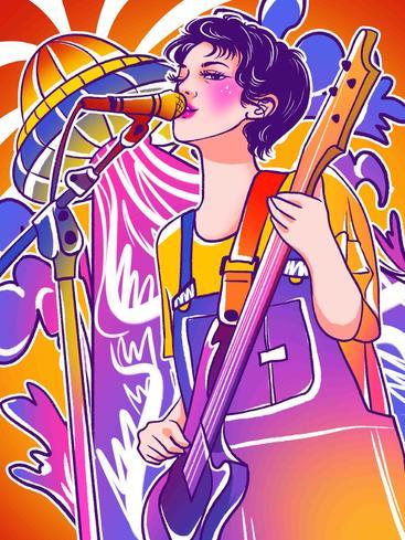 涂鸦风弹吉他唱歌的女孩 Doodle wind guitar singing girl__I0501002QTW