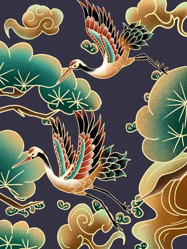 中国风祥云仙鹤 Chinese style auspicious cloud crane__I0101018QTW