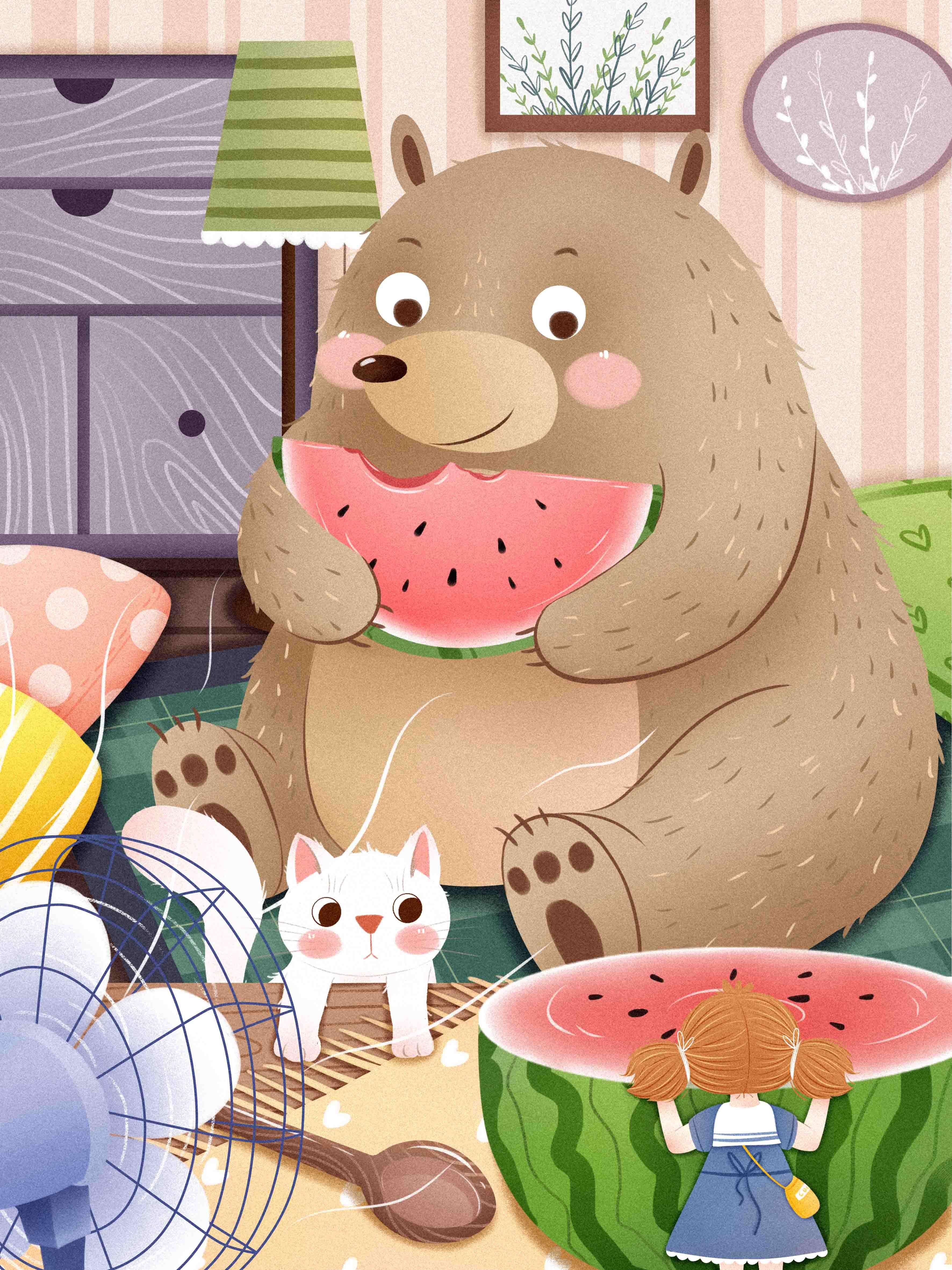 I0301001QTW  24节气之大暑小熊吃西瓜插画.jpg