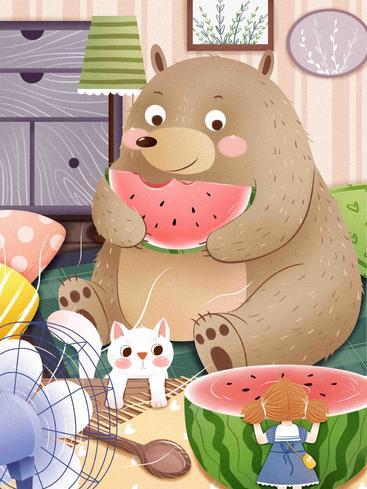 卡通小熊吃西瓜 Cartoon bear eats watermelon__I0301001QTW