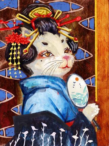 日本和风艺妓猫 Japanese hefeng geisha cat__I0301009QTW