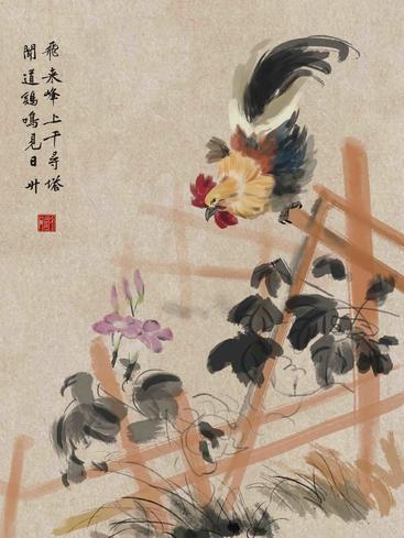 中国画水墨公鸡 Chinese painting ink cock__I0101017QTW