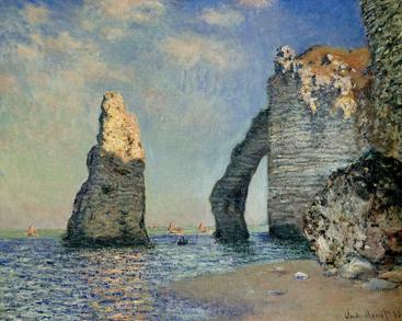 莫奈《阿瓦尔的岩石表面》Monet The rock face of Aval__W0300009GPN