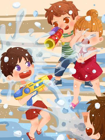 卡通小朋友打水仗 Cartoon children play water fights__I0201008QTW