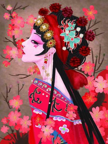 中国风京剧花旦 Chinese style Peking Opera star__I0101007QTW