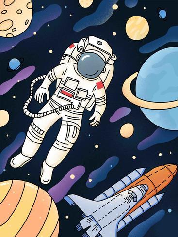 卡通宇航员太空漫游 Cartoon astronaut space Odyssey__I0201002QTW