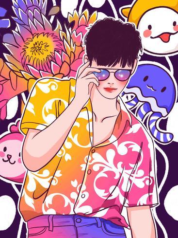 涂鸦风时尚男孩 Graffiti style fashion boy__I0501004QTW