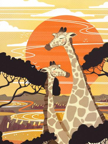 卡通呆萌长颈鹿 Cartoon cute giraffe__I0301007QTW