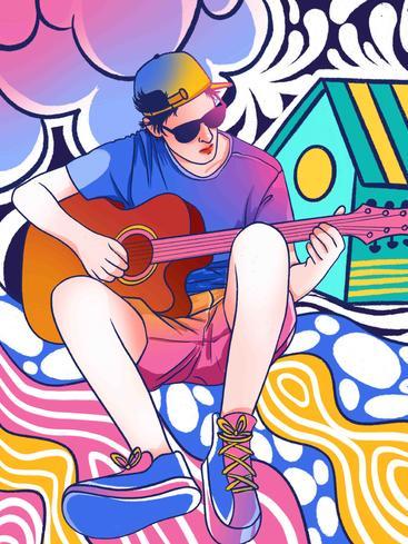 涂鸦风弹吉他的男孩 Doodle the boy who plays guitar__I0501003QTW
