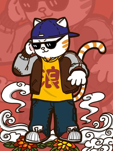 卡通嘻哈喵星人 Cartoon hip-hop cat__I0501009QTW