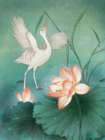 中国风仙鹤荷花 Chinese style crane lotus__I0101014QTW