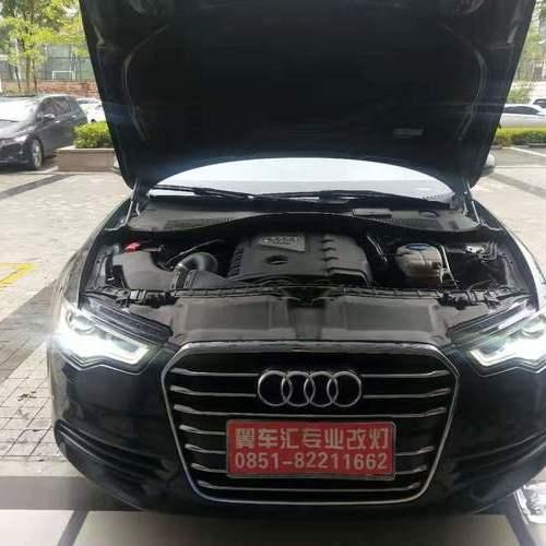 贵阳奥迪A6L车灯升级改装原车氙气灯升级F+激光大灯和LED双光透镜