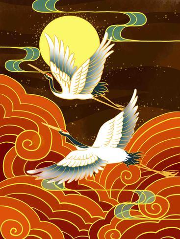 中国风祥云仙鹤 Chinese style auspicious cloud crane__I0101015QTW