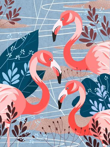 简约扁平风火烈鸟 Simple flat wind flamingos__I0301004QTW