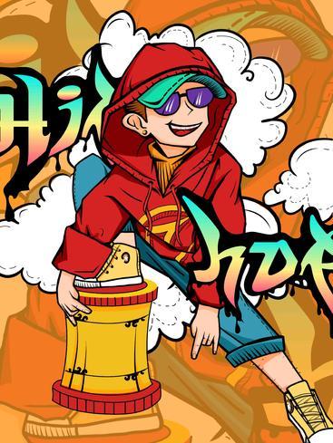 卡通嘻哈插画 Cartoon hip-hop illustration__I0501005QTW