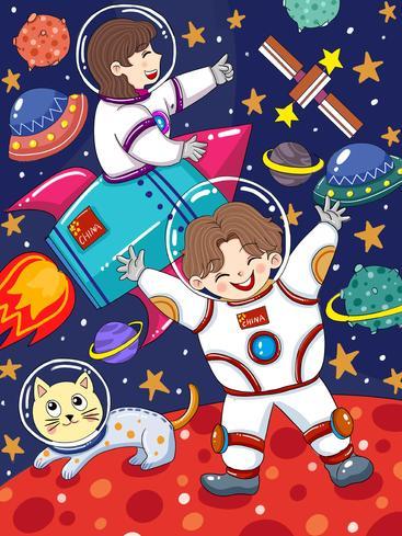 卡通宇航员太空漫游 Cartoon astronaut space Odyssey__I0201003QTW