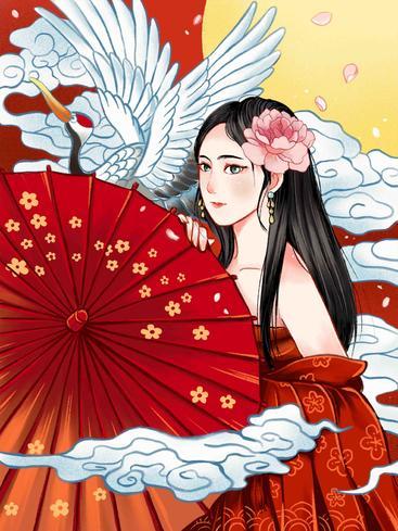 中国风梅花仙鹤 Chinese style Crane with plum blossom__I0101025QTW