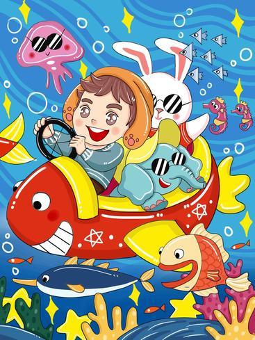 卡通宇航员海洋畅游 Cartoon astronauts swim in the ocean__I0201003QTW