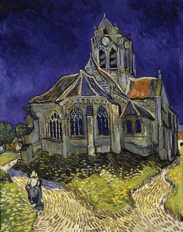 梵高《奥弗斯河畔的教堂》Van Gogh The Church in Auvers-sur-Oise__W0200017GPN