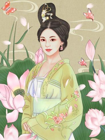 中国风荷花蝴蝶 Chinese style lotus butterfly__I0101022QTW