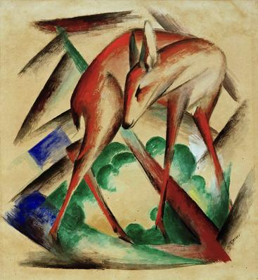 弗朗茨·马克《红鹿》Red deer Franz Marc__W1202003GPN