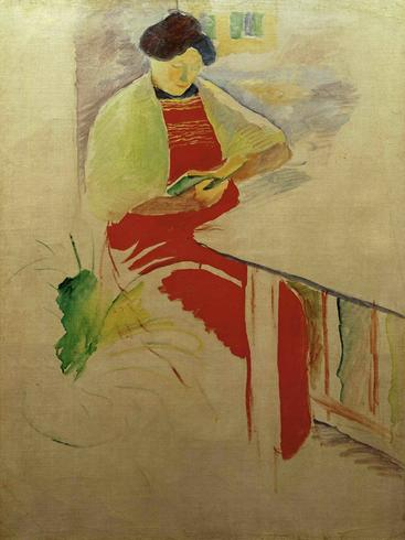 马克《穿红围裙的女人》Woman in red pinafore Macke__W1201003GPN