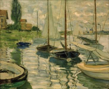 莫奈《塞纳河上的帆船》Sailing boats on the Seine Monet__W0502002GPN