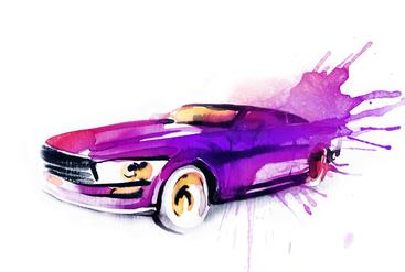 水彩画 汽车 Watercolor painting of car__W0700009SSK