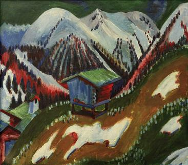 柯克纳《山区景观与小屋》Mountain landscape with chalet Kirchner__W0501005GPN