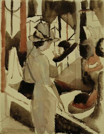 马克《帽子店前的女人》Woman in front of Hat Shop Macke__W1201033GPN