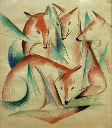 弗朗茨·马克《四只狐狸》Four Foxes Franz Marc__W1202004GPN