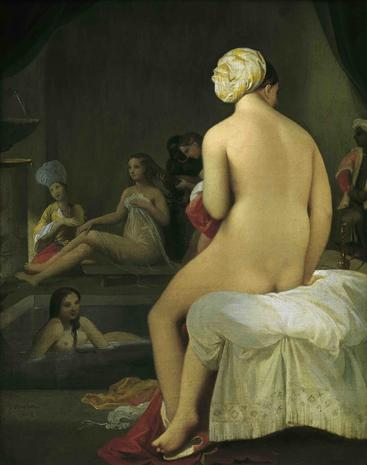 安格尔《后宫里的小游泳者》The Little Bather in the Harem Ingres__W1101006GPN