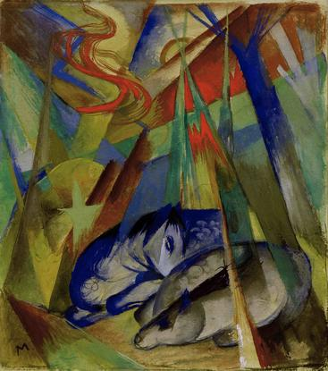 弗朗茨·马克《睡觉的动物》Sleeping animals Franz Marc__W1202008GPN