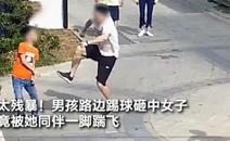 男孩踢球砸中女子,竟被她同伴踹飞!警方通报来了