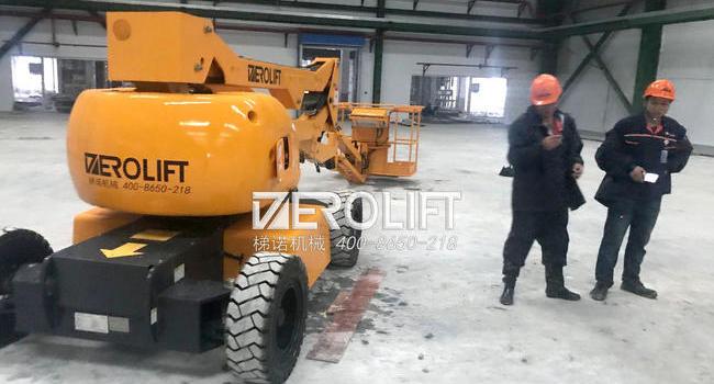 浙江某新能源公司电动曲臂式升降平台交付使用