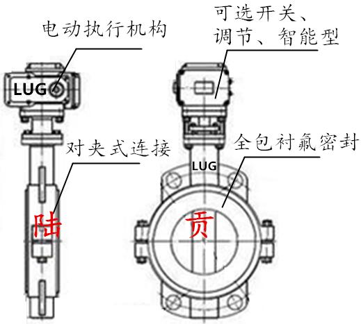 对夹式电动衬氟蝶阀结构图