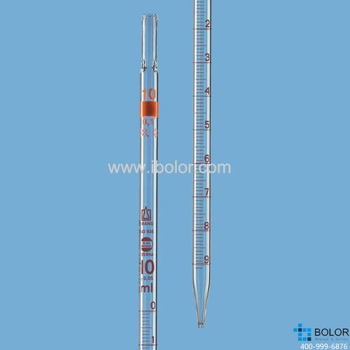 刻度移液管,BLAUBRAND? ETERNA, AS级,3类(零刻度位于顶端),25:0.1 ml 28415