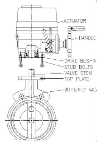 电动蝶阀电动执行器安装图