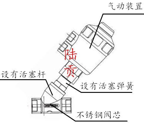 不锈钢气动角座阀结构图
